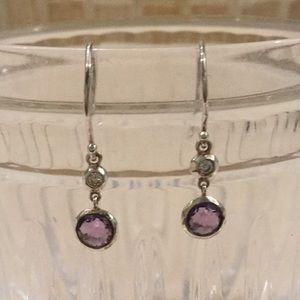 Ippolita silver amethyst diamond drop earrings